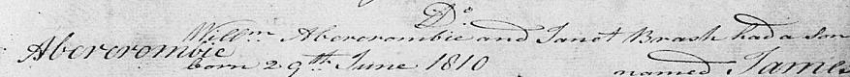 James Abercrombie's 1810 entry in Kilsyth Parish Register of Births