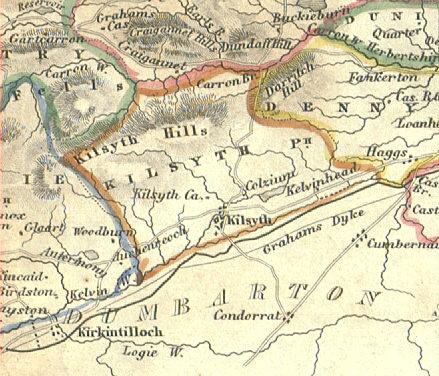 Map (circa 1740) showing the boundaries of Kilsyth Parish and the location of Kilsyth Burgh.
