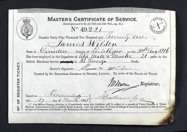 James Wilson's Master's Certificate of Service 1851