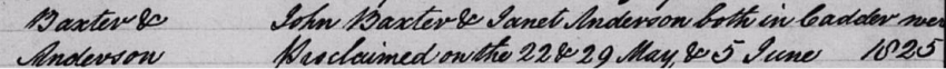 John Baxter and Janet Anderson's marriage record in the Cadder Register of Marriages
