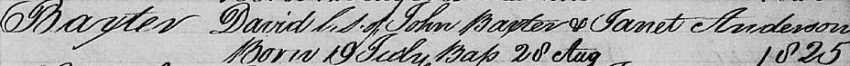 David Baxter's birth record in Parish of Cadder's Birth Register