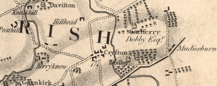 1795 Map showing location of Daviston in relation to the village of Chryston.