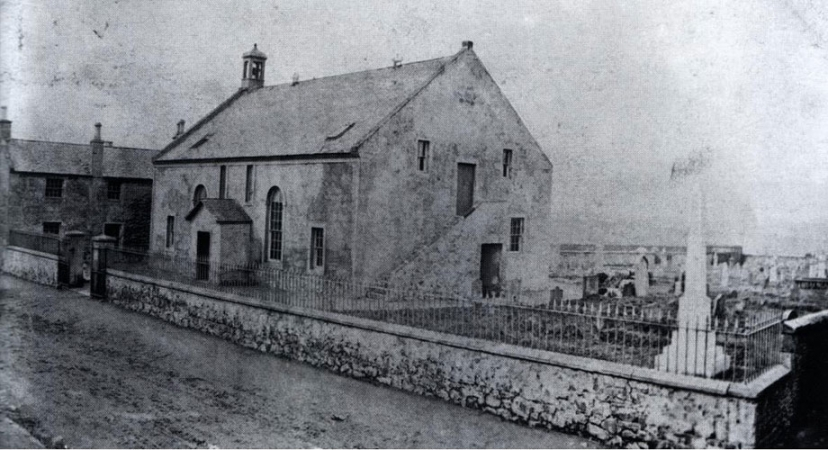 Chryston Parish Church built 1780 as a Chapel of Ease and replaced in 1878. School is shown far left.
