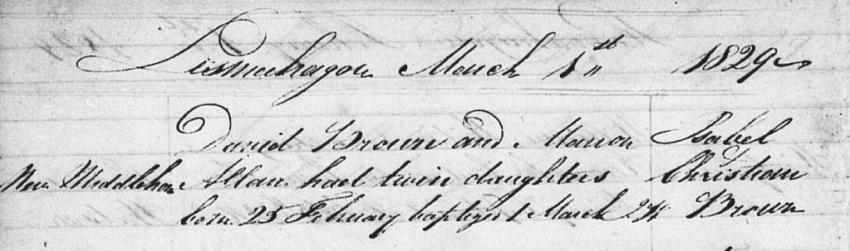 Isabel and Christian Brown's birth record
