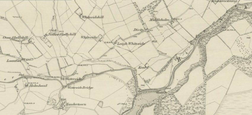 Middleholm and Yondertown Farms shown on 1858 map