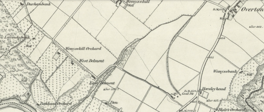 1858 Map showing location of East Belmont Orchard in Cambusnethan by the River Clyde.