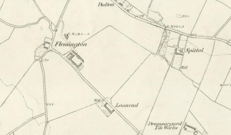 1859 Map showing Loanend at Flemington in Cambuslang Parish, Lanarkshire