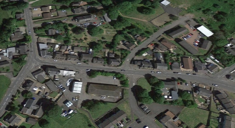 Modern aerial view of Stane showing original Police Station at dead centre