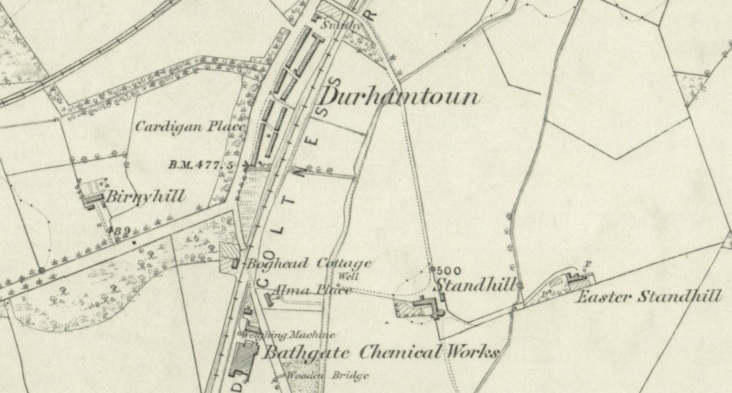 Map showing Durhamtown south of Bathgate