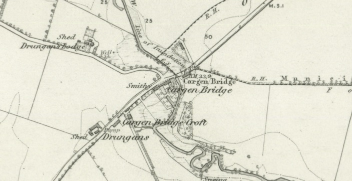 1850 Map showing Cargen Bridge