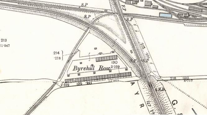 Byrehill Rows on 1895 Map