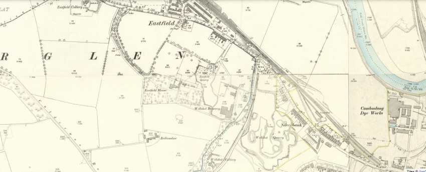1895 Map showing the rows at Eastfield (top) and Wellshot Colliery (bottom)