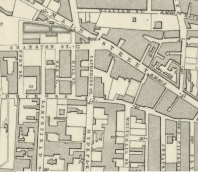 1858 Map showing Catherine Street