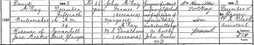 1893 Death Record of David McKay