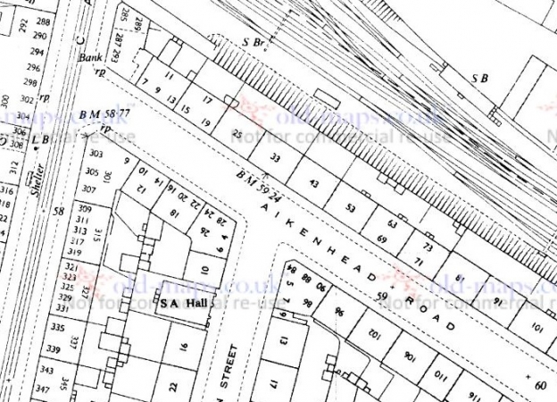 1953 Map showing the location of the addresses where the McKays lived in the 1880s