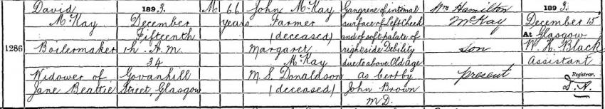 1893 Death Record of David McKay