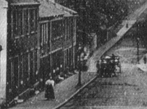 Close up of above photo showing No. 55 as the second door on the left.
