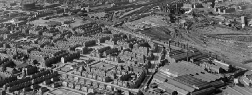 1947 Aerial View of Govanhill showing location of the Locomotive Works and the Aikenhead Road tenements.