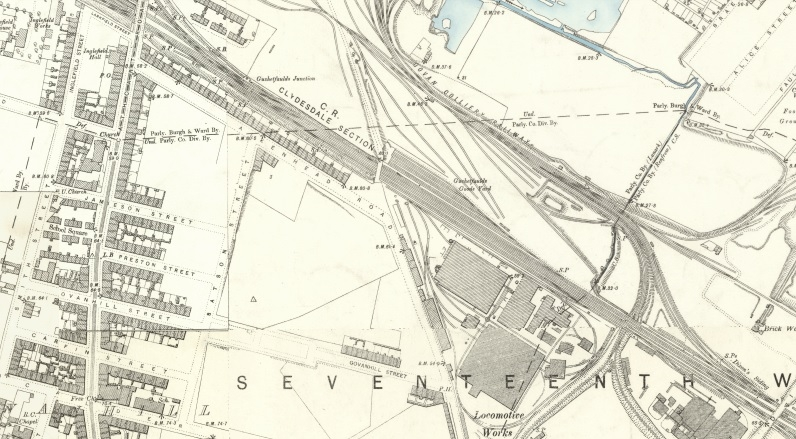 1892 Map showing the location of the tenements and Locomotive Works on Aikenhead Road.