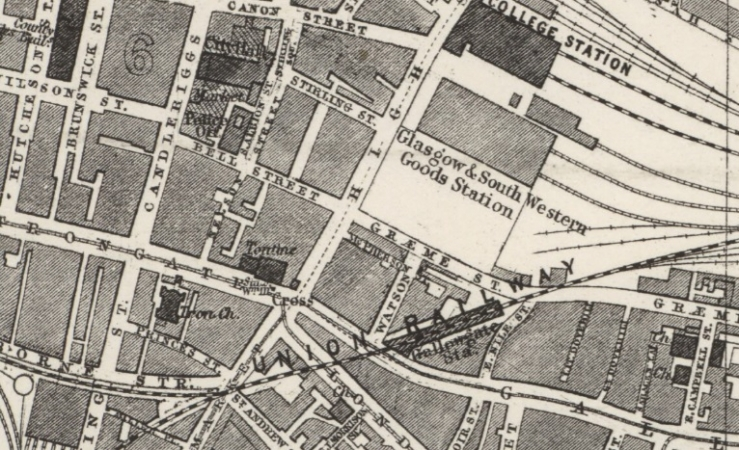 1882 Map showing Graeme Street situated close to Glasgow Cross and the Market on Candleriggs.
