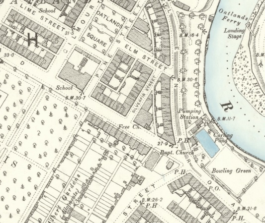 1892 Map showing a section of Caledonia Road.
