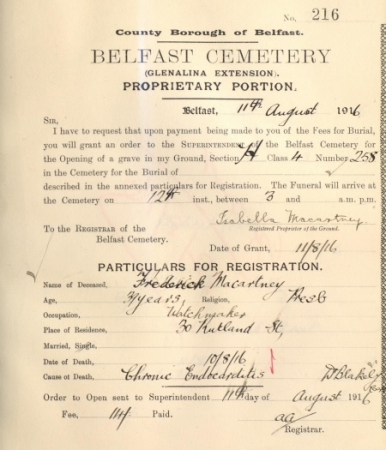 Grant of Permission for Burial of Frederick Macartney, 1916