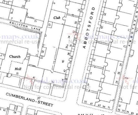 1951 Map showing location of 40 Abbotsford Place in the Gorbals
