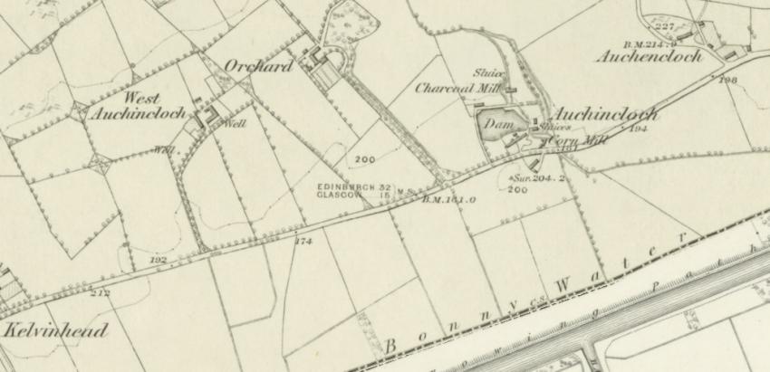 1859 Map showing Auchencloch farm steadings