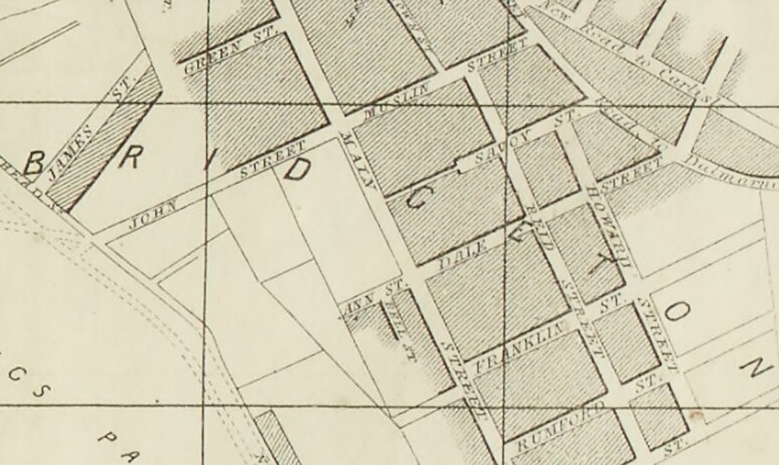 1857 Map showing Muslin Street in Bridgeton
