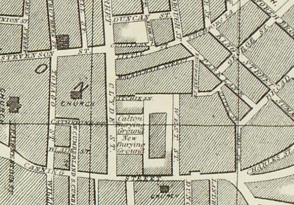 1861 Map showing McKechnie Street in Calton.
