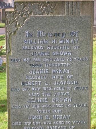 McKay Family Headstone in Rutherglen Cemetery