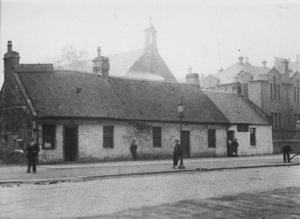 Rutherglen Main Street with St Collumkille's Chapel and School c.1895