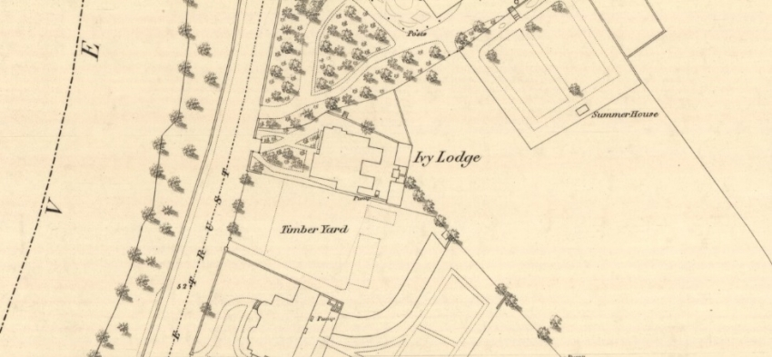 Map showing Ivy Lodge on east bank of River Nith