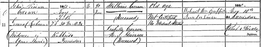 1890 Death Record of John Nivison Carson