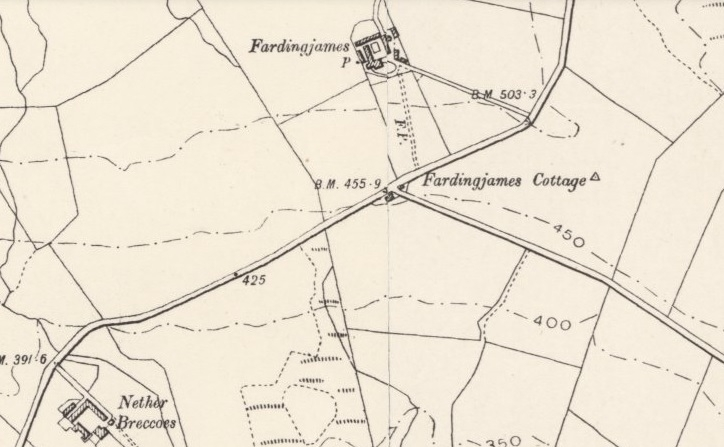 Location of Farding James Cottage on 1898 Map