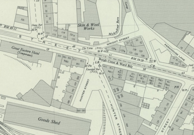 Location of 214 Hunter Street at Duke Street in Glasgow