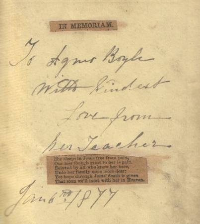 Inscription in Agnes's gift from her teacher.