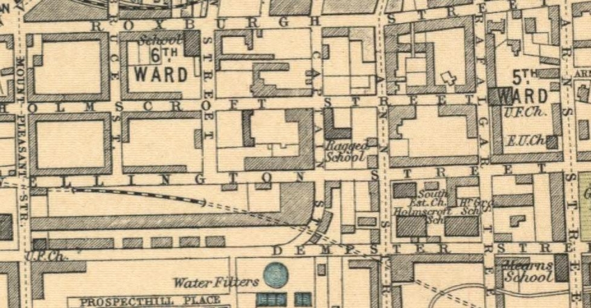 1912 Map showing location of Greenock Ragged School