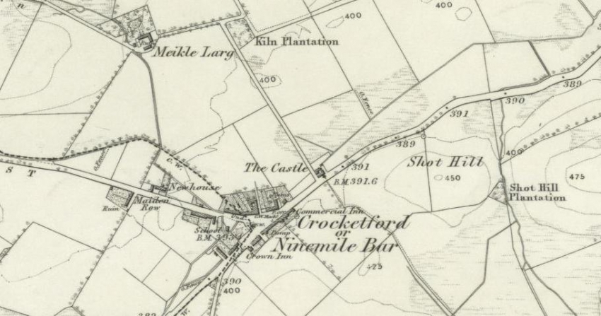 1850 Map showing Crocketford and the nearby Meikle Larg Farm