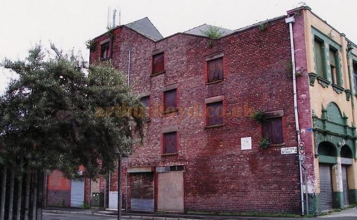 Lorton Street showing rear of Pivvy Bingo Club in 2012