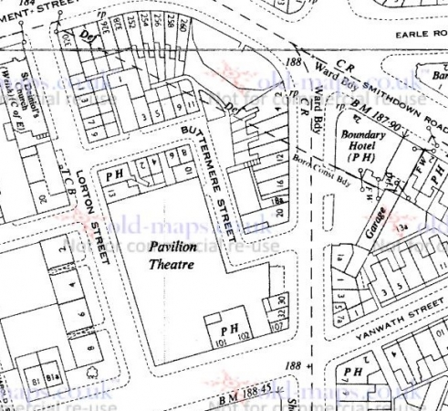 1951 Map showing location of Liverpool Pavilion Theatre