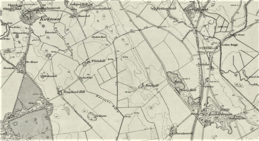 1850 Map showing Kirkton village and Locharbriggs Quarry