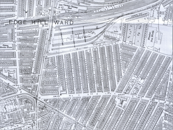 1908 Map showing Lorton Street and Buttermere Street (bottom left)
