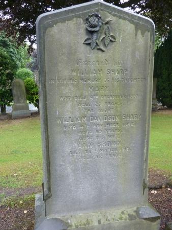 The Sharp Headstone in Camelon Cemetery.