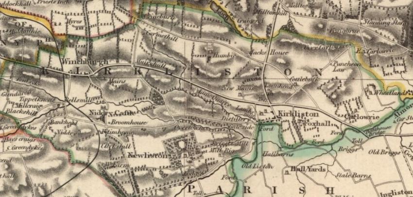 Map of Kirkliston Parish showing Kirkliston Village and, to the north, Jack's Houses.