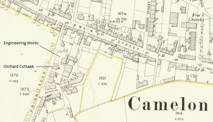 1898 Map showing locations of Gordon Street, and Orchard Cottage and Engineering Works on Union Road.