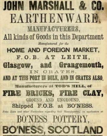 John Marshall Pottery Ad 1867