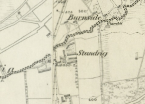 1860 Map showing Standrig Colliery