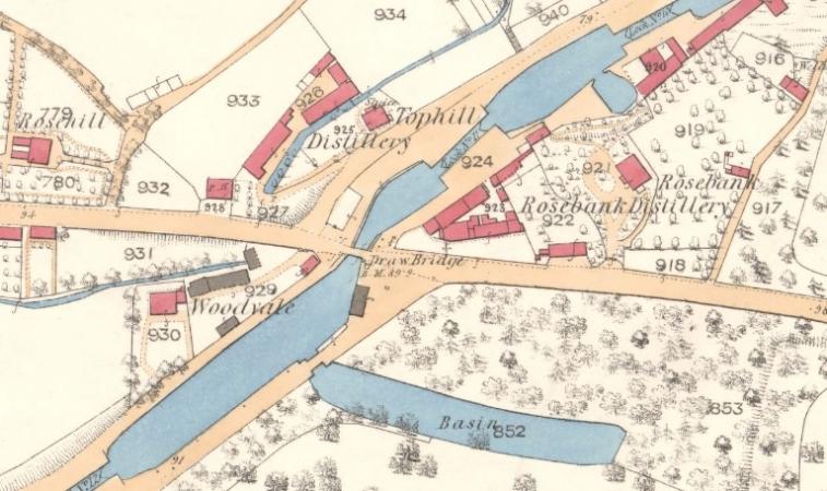 1860 Map showing Rosebank Distillery.