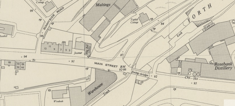 1950 Map showing the location of the Dickson residence at 13 Rosebank Buildings.